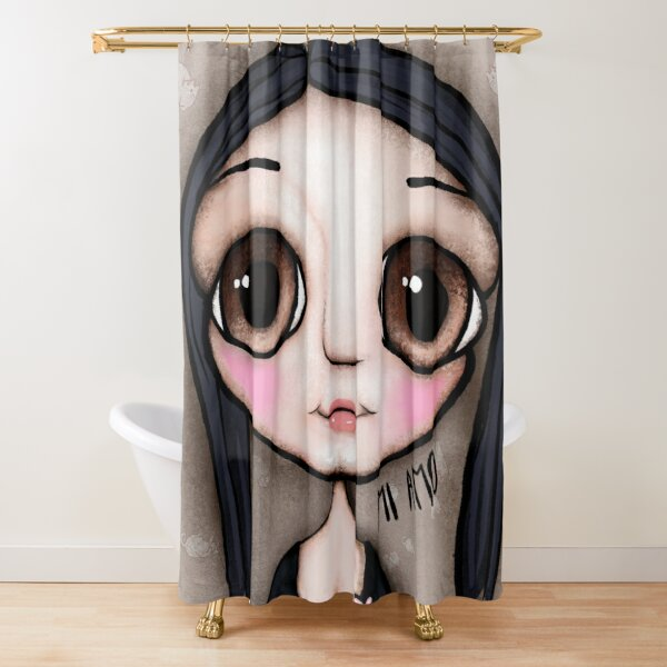 Little child big brown eyes black hair with a message Shower Curtain