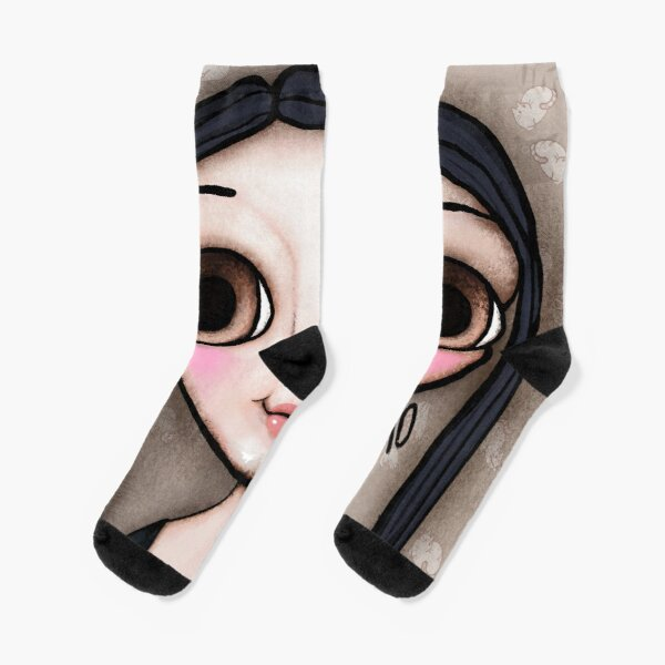 Little child big brown eyes black hair with a message Socks