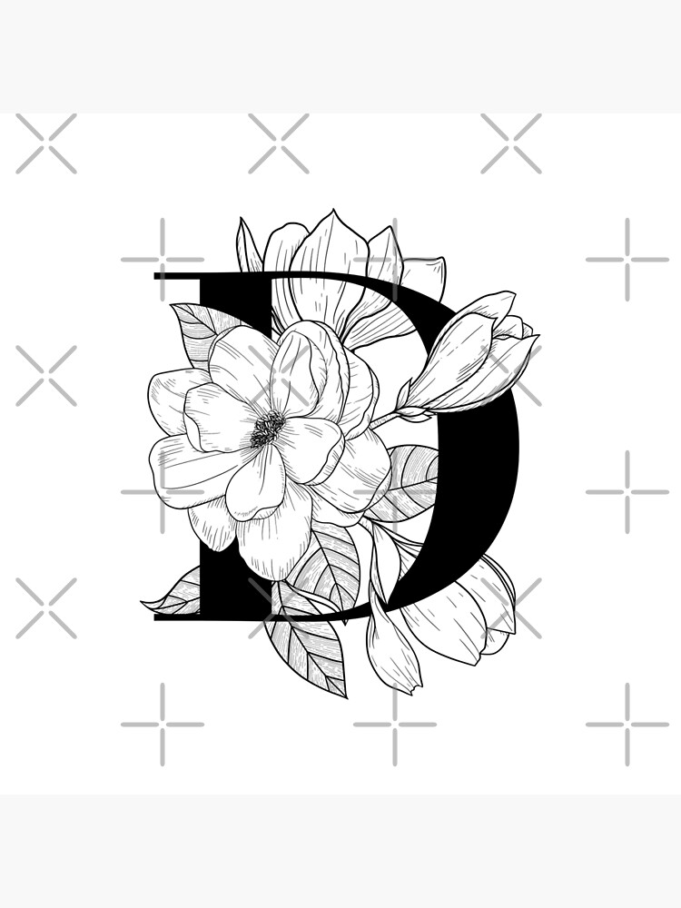 Monogram D With Magnolia Line Art Art Board Print By Graphicsbynel Redbubble