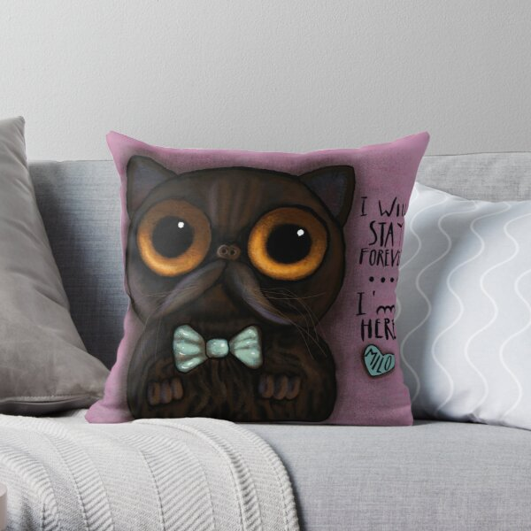 Black cat with message Throw Pillow