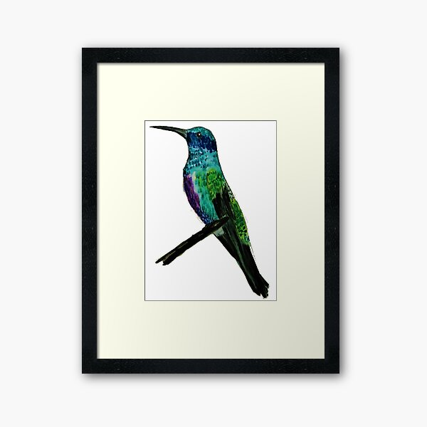 Hummingbird in Watercolor Markers Framed Art Print
