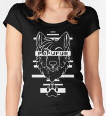 POPUFUR -white text- Women's Fitted Scoop T-Shirt