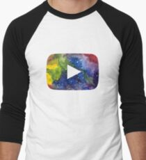 YouTube Play Button Space 3 Baseball ¾ Sleeve T-Shirt