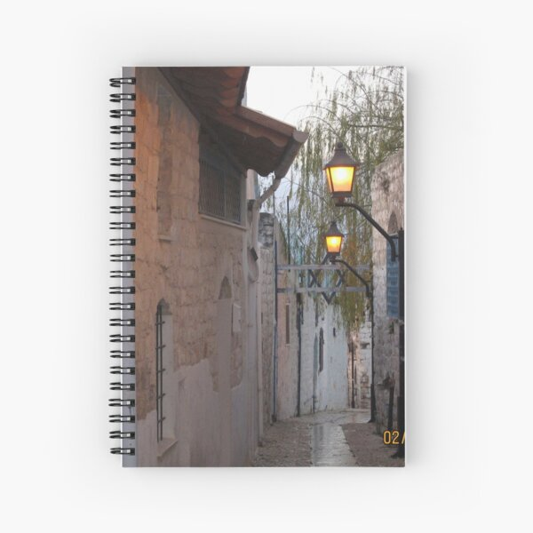 Jewish,  Israel, Alley, Street Lights Spiral Notebook