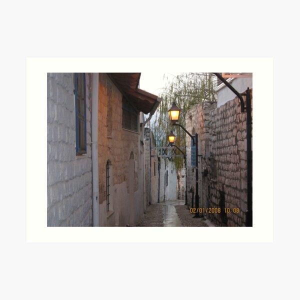 Israel, Alley, Street Lights Art Print