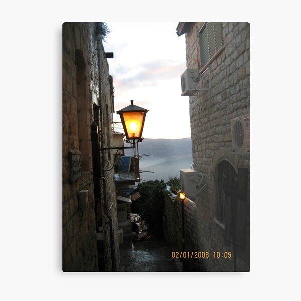 Israel, Alley, Street Light Metal Print