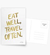 Eat Well, Travel Often – Gold Postcards