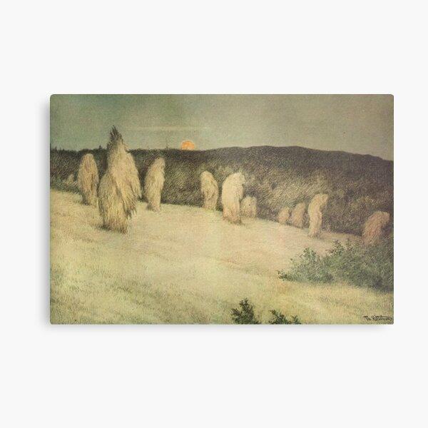 Theodor Kittelsen - Kornstaur i måneskinn, ca 1900 (Stooks of Corn in Moonlight) Metal Print