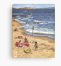 people on Bournemouth beach Blue Sea Canvas Print