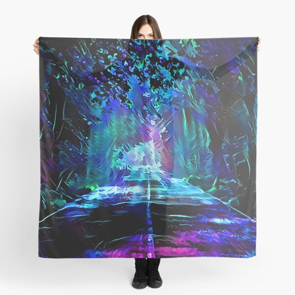 Blacklight Night on Aurora Road Scarf