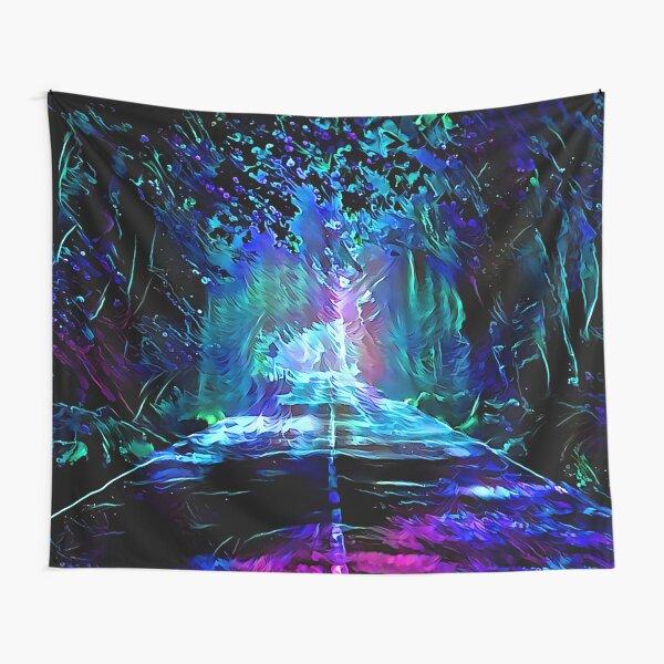 Blacklight Night on Aurora Road Tapestry