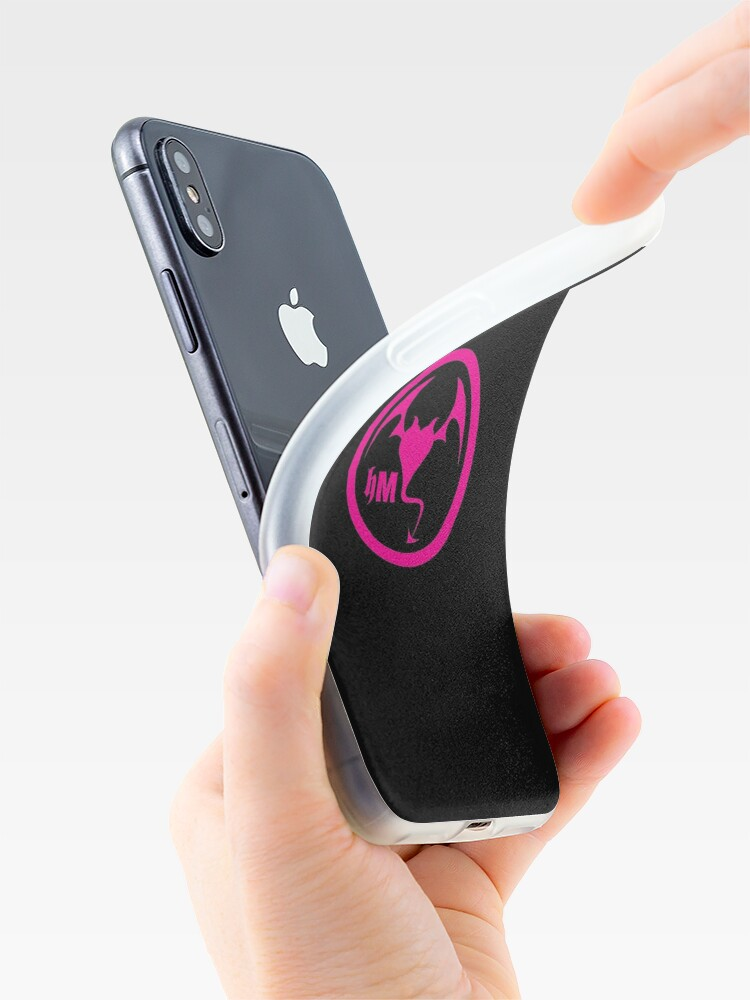 Alternate view of Hollywood Monsters Circle Bat Logo - PINK iPhone Case & Cover