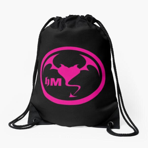 Hollywood Monsters Circle Bat Logo - PINK Drawstring Bag
