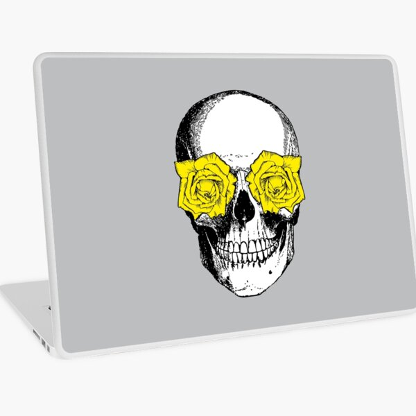 Skull and Roses | Skull and Flowers | Skulls and Skeletons | Vintage Skulls | Grey and Yellow |  Laptop Skin