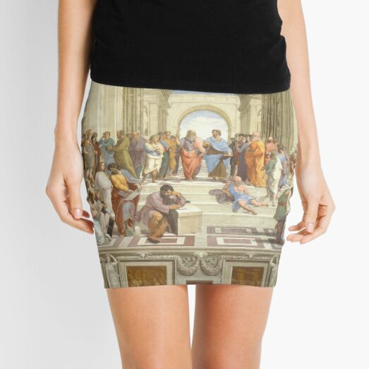 The School of Athens (1509–1511) by Raphael, depicting famous classical Greek philosophers in an idealized setting inspired by ancient Greek architecture Mini Skirt
