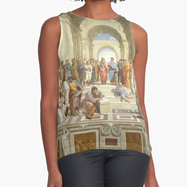 The School of Athens (1509–1511) by Raphael, depicting famous classical Greek philosophers in an idealized setting inspired by ancient Greek architecture Sleeveless Top