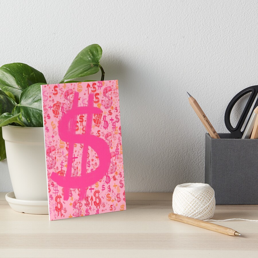 Pink Dollar Signs Art Board Print