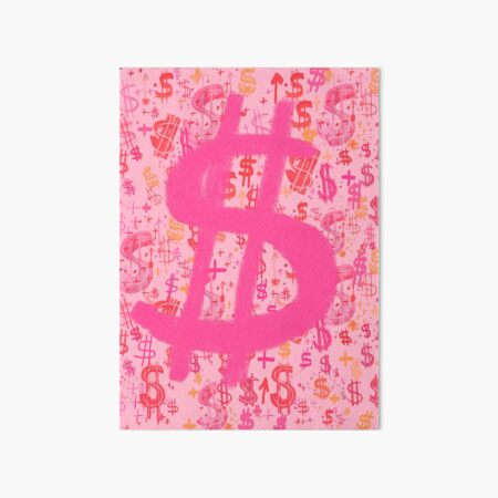 Pink Dollar Signs Art Board Print