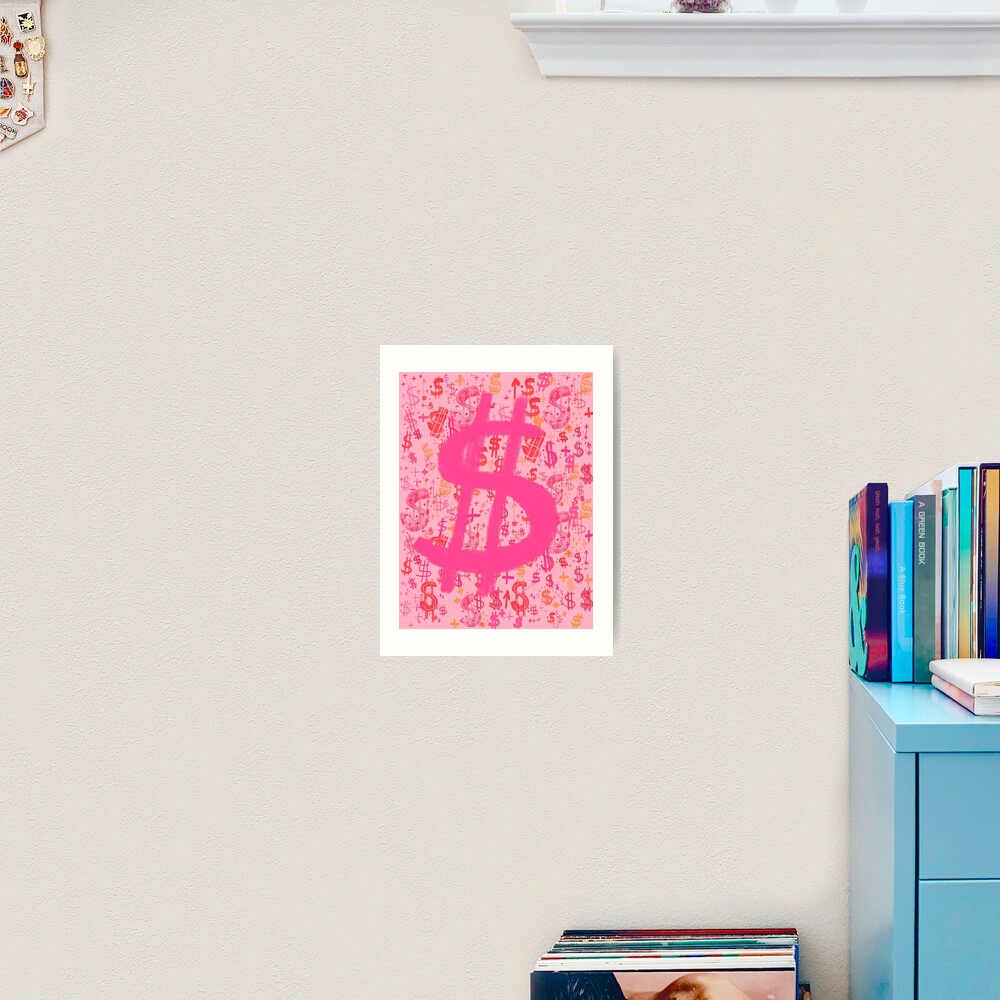 Pink Dollar Signs Art Print