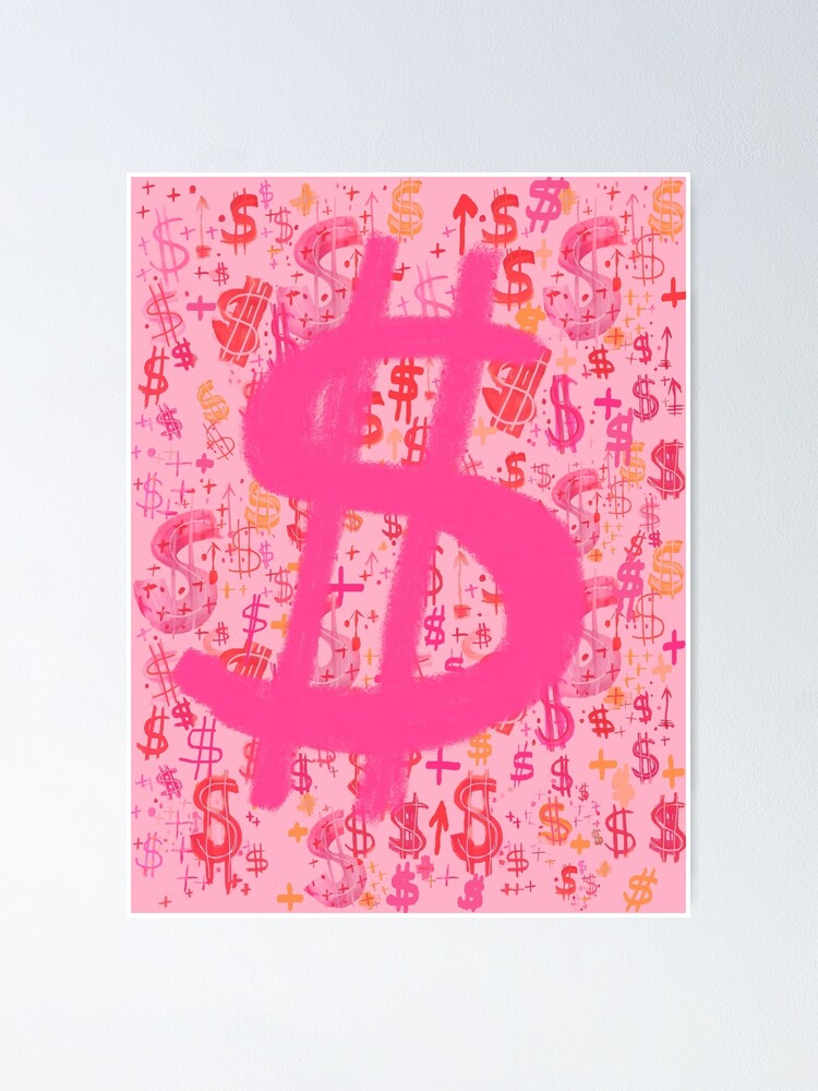 Alternate view of Pink Dollar Signs Poster