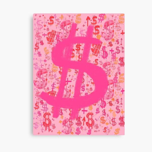 Pink Dollar Signs Canvas Print