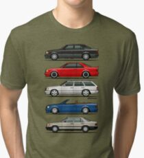 Stack of Mercedes Benz W124 E-Class Tri-blend T-Shirt