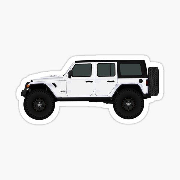 White Jeep Wrangler JL Unlimited Rubicon - 4 puertas Pegatina