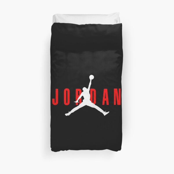 jordan logo red white Duvet Cover