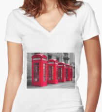 Telephone booths Women's Fitted V-Neck T-Shirt