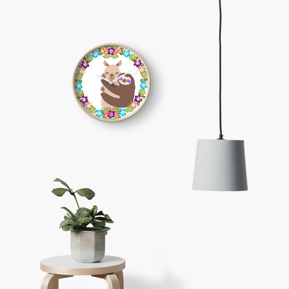 Llama and Sloth Best Friends Forever Clock