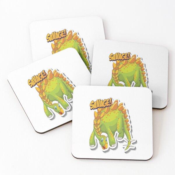 Stegosaurus Savage Dinosaur Coasters (Set of 4)
