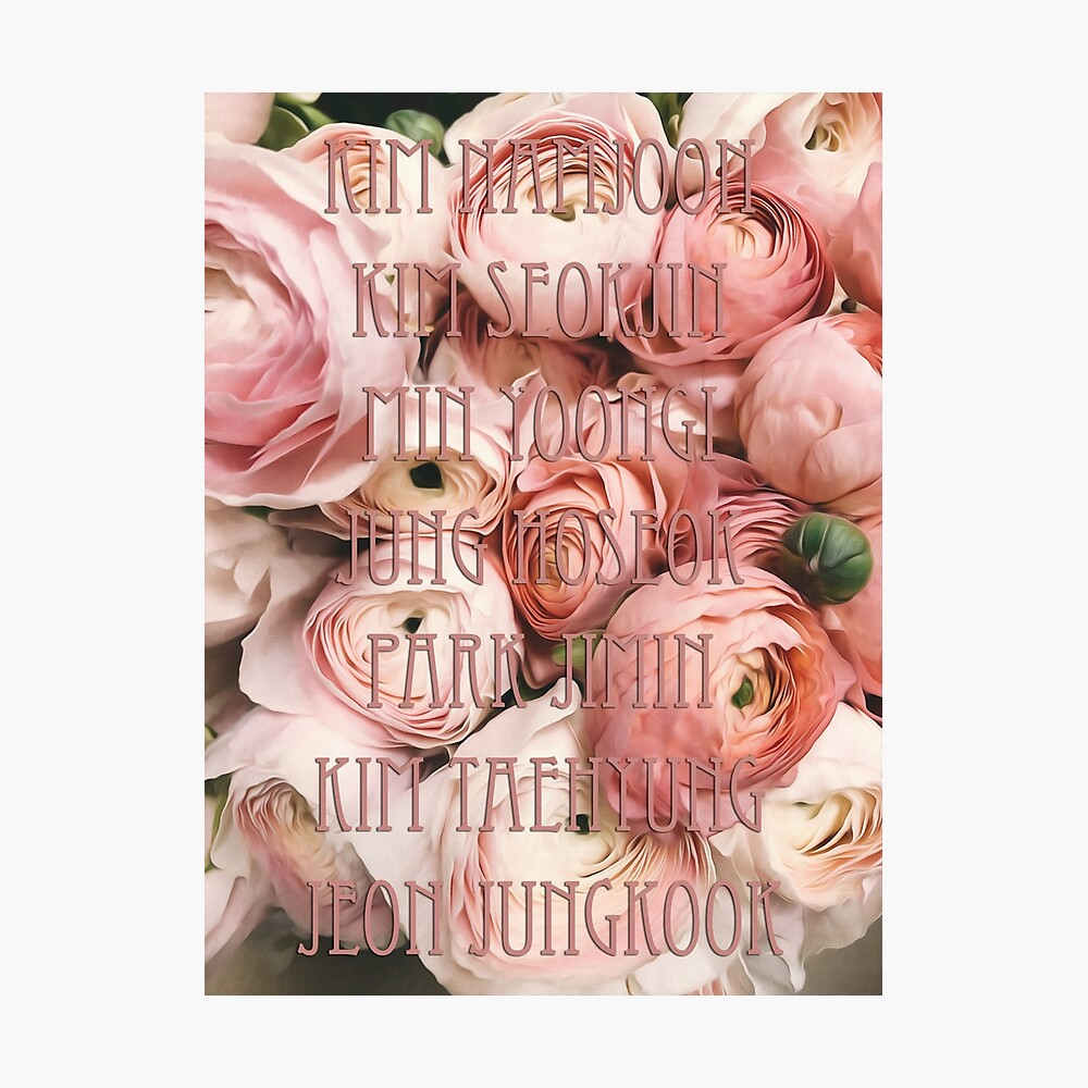 Bts Names Flowers Poster By Irinaluna Redbubble