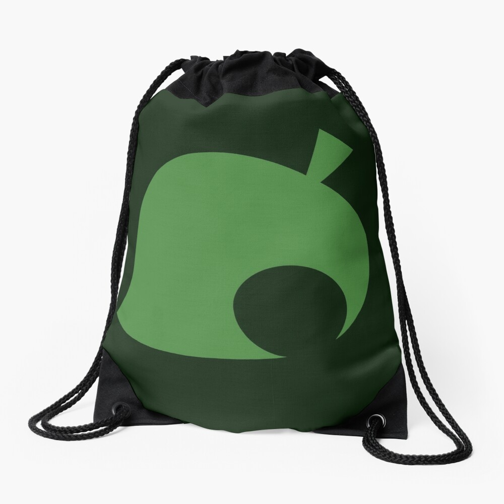 Animal Crossing Leaf Drawstring Bag
