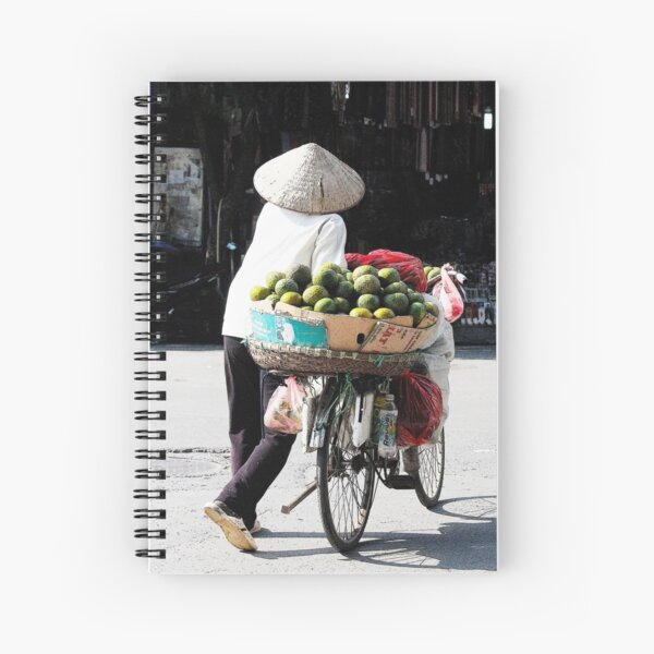 Vietnamese woman street vendor with conical hat, Hanoi Spiral Notebook