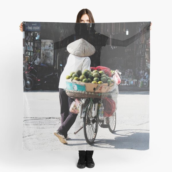 Vietnamese woman street vendor with conical hat, Hanoi Scarf