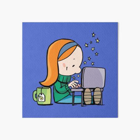 little girl writes Christmas letter on laptop Art Board Print