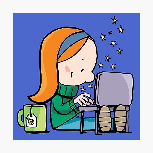 little girl writes Christmas letter on laptop Photographic Print