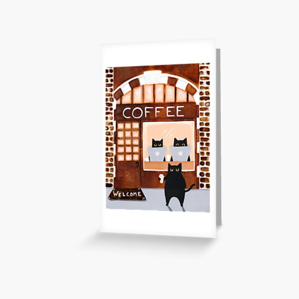 Coffeehouse Cats Greeting Card