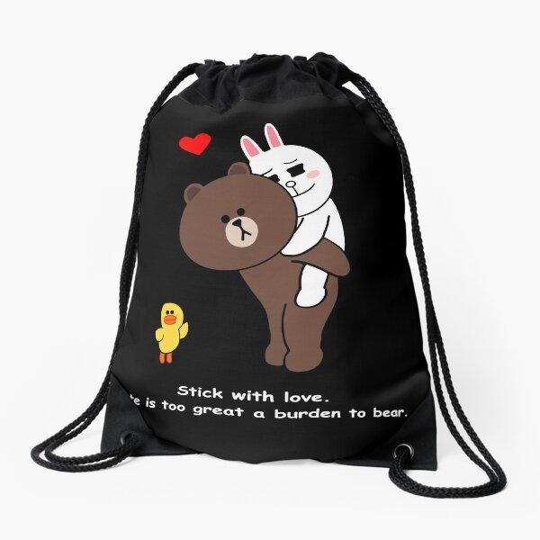 Brown bear cony bunny rabbit stick with love Drawstring Bag