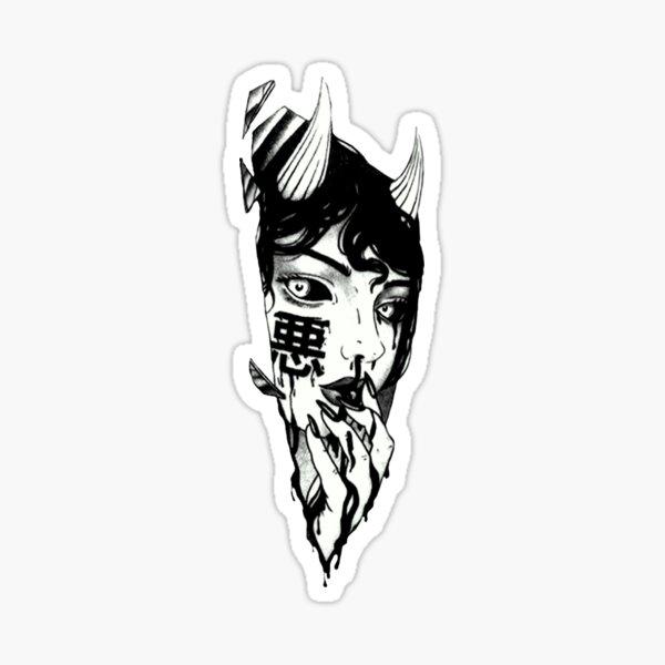 Evil Girl Japanese Cyberpunk Black and White Sticker