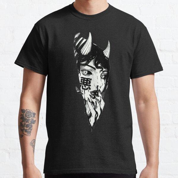 Evil Girl Japanese Cyberpunk Schwarz und Weiß Classic T-Shirt