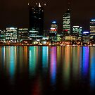 Perth City Lights Refelctions 2 by Jaxybelle