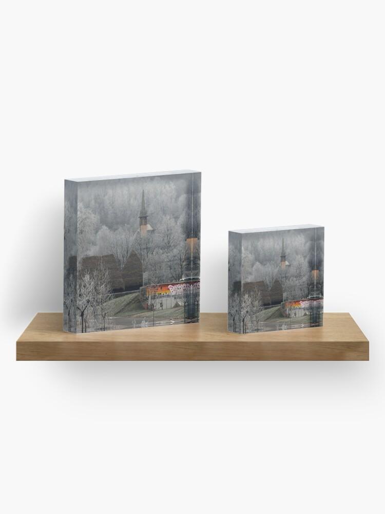 Alternate view of Winter scene - wooden church Acrylic Block