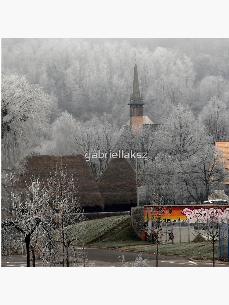 Winter scene - wooden church by gabriellaksz