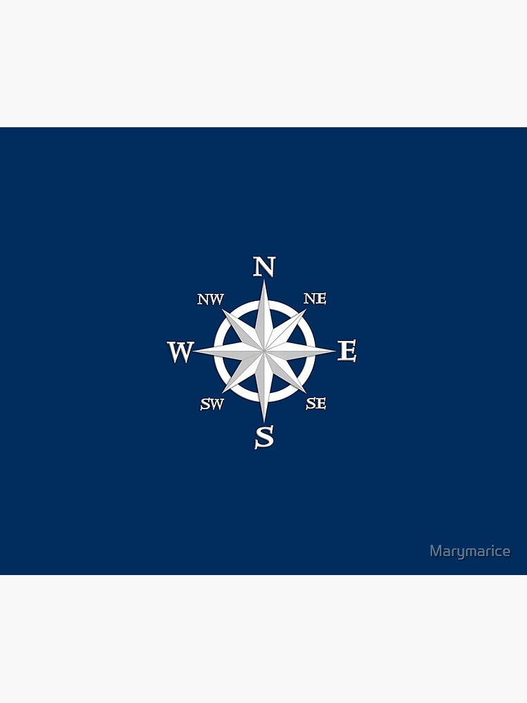 Eight Point Compass Rose, White and Navy Blue by Marymarice