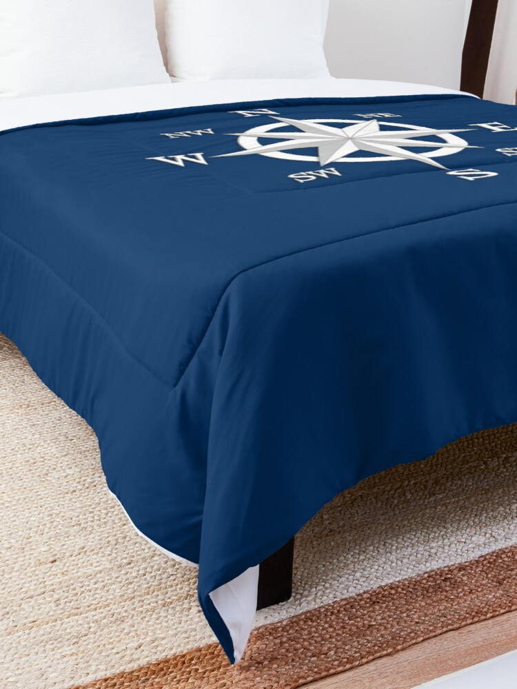 Alternate view of Eight Point Compass Rose, White and Navy Blue Comforter