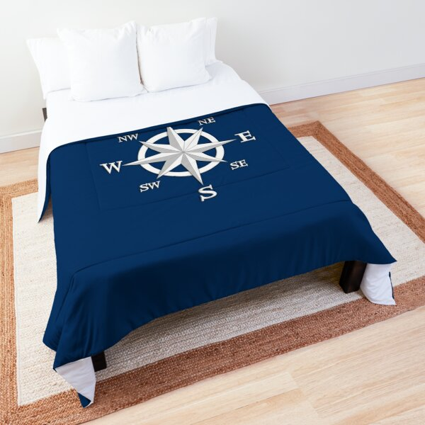 Eight Point Compass Rose, White and Navy Blue Comforter