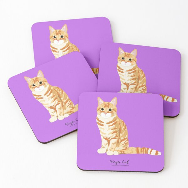 Ginger Cat Coasters, Coasters (Set of 4)