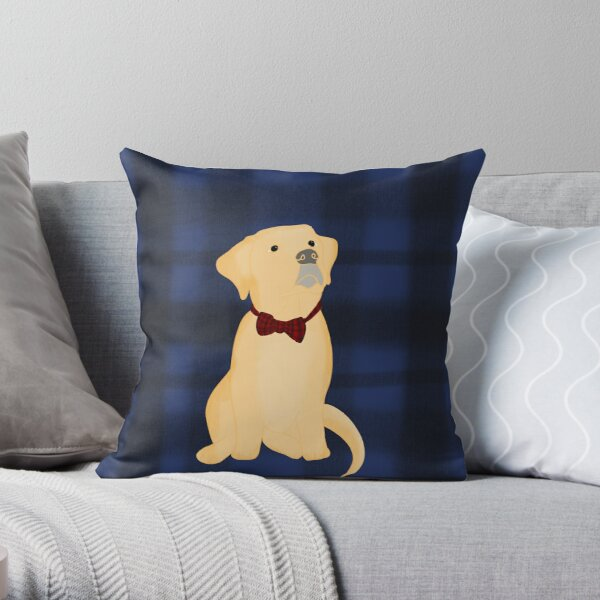 Yellow Lab Puppy In Plaid Throw Pillow
