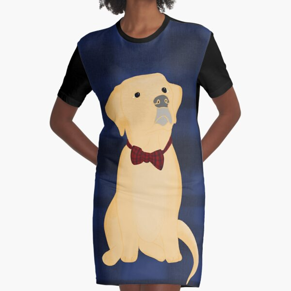 Yellow Lab Puppy In Plaid Graphic T-Shirt Dress